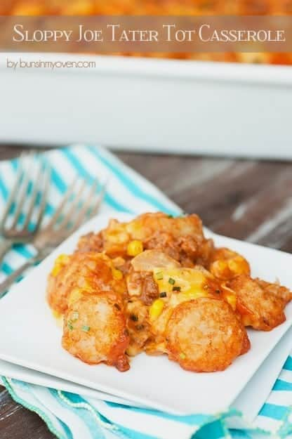 Close up of tater tots on a small square plate.