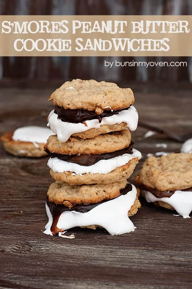 Peanut Butter S'mores Cookies #recipe by bunsinmyoven.com