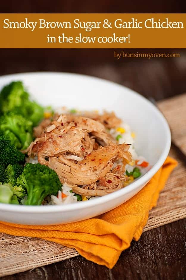 Smoky Brown Sugar & Garlic Chicken - in the slow cooker! #recipe by bunsinmyoven.com