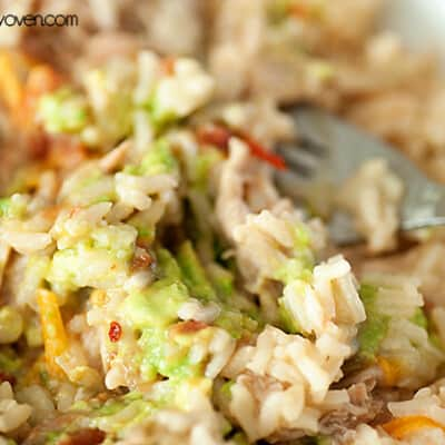 A close up of rice with pulled pork in it.