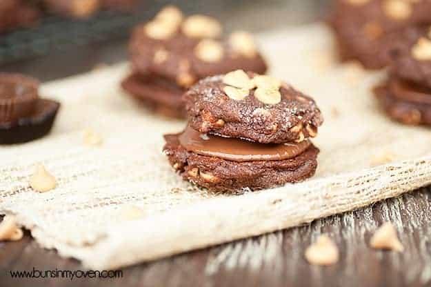 chocolate peanut butter reeeses sandwich cookies recipe 4