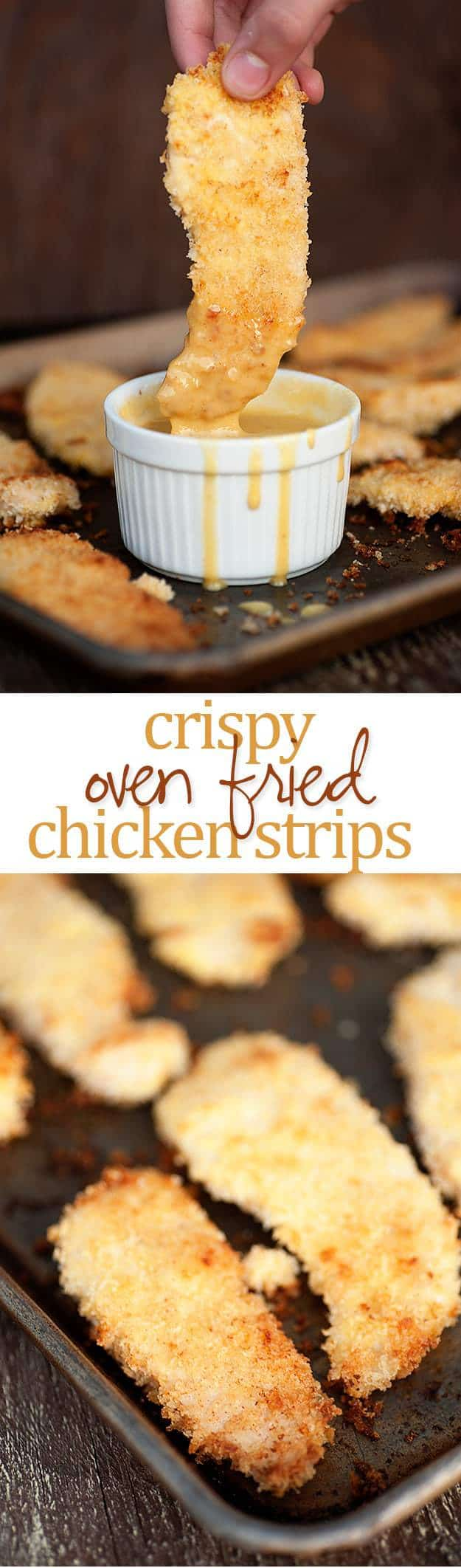 Easy oven fried chicken strips...they're so crispy and they're fried in butter