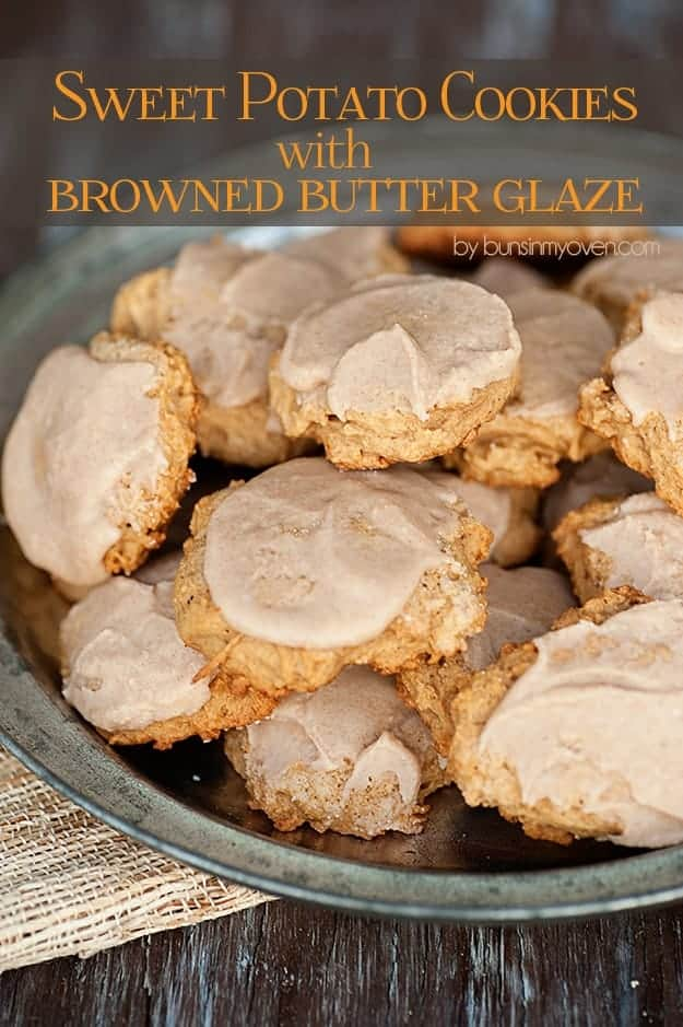 A plate of sweet potato cookies with a browned butter glaze on top.