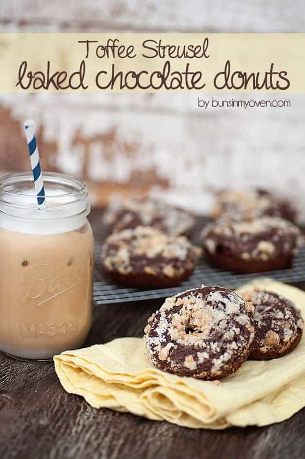 toffee streusel baked chocolate donuts recipe
