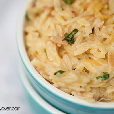 A close up of an overhead view of parmesan orzo.