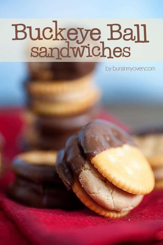 chocolate peanut butter ball sandwiches