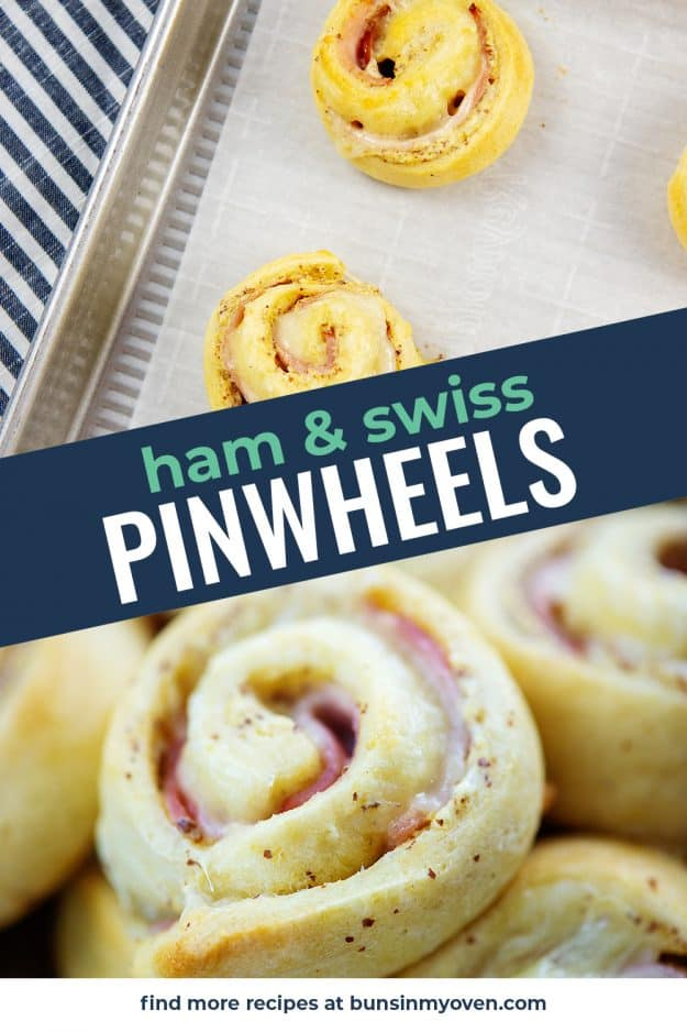 collage of ham and cheese pinwheel images