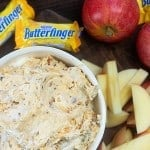 Fruit Dip made with cream cheese, marshmallow fluff, and Butterfinger candy bars!! The perfect dip for apples or graham crackers! #fruit #dip #recipe #easy