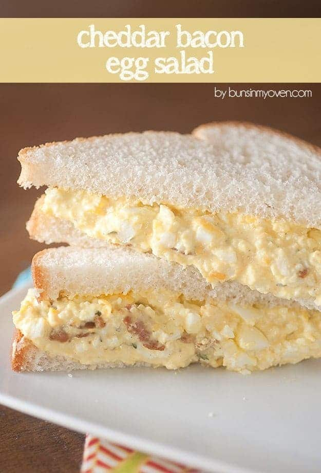 This recipe for egg salad is loaded with bacon and cheddar. It makes a great egg salad sandwich!