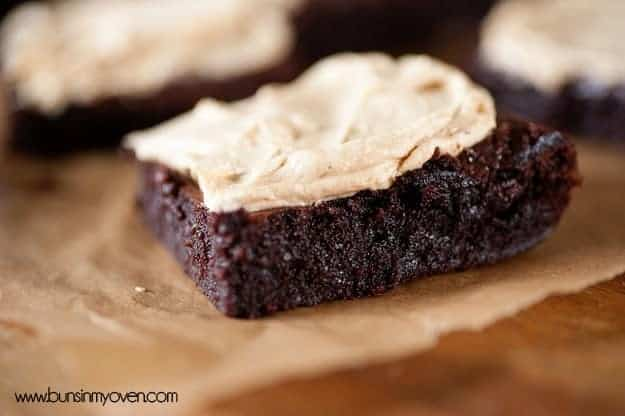 creamy peanut butter frosting on dense one bowl brownies