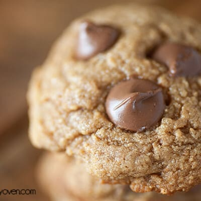 A close up of a chocolate chip graham cracker cookie.