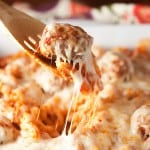 Chicken Parmesan Meatball Casserole - all the flavor of chicken parm in a comforting casserole!