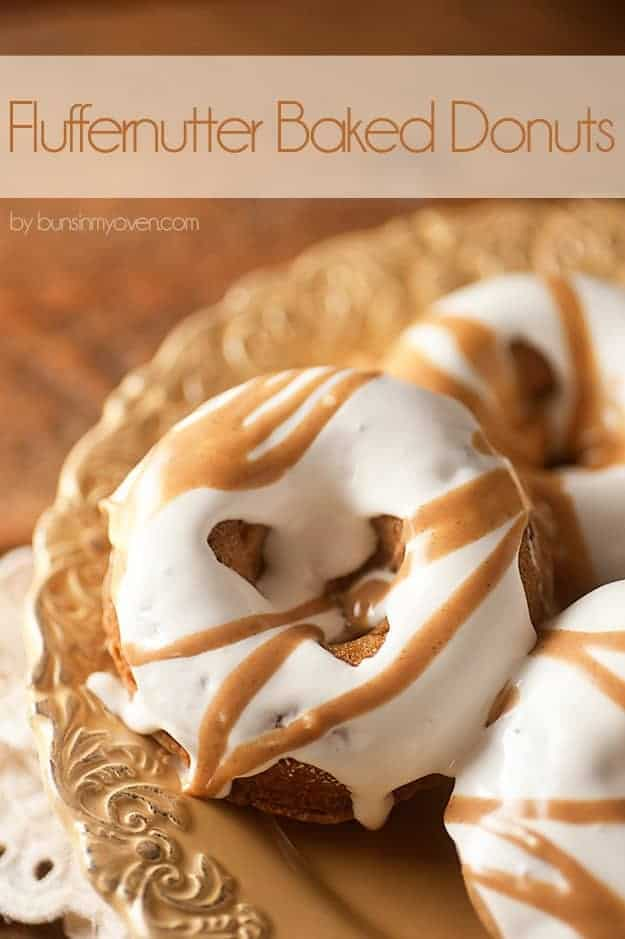 Fluffernutter Donut Recipe - baked peanut butter donuts with a gooey, messy marshmallow glaze!