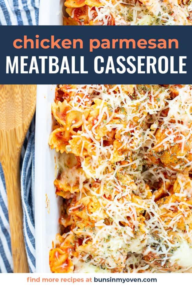 chicken parmesan meatball casserole in white dish.