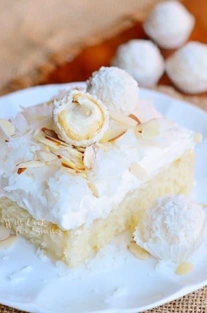 Raffaello-Poke-Cake-Coconut-Cake-with-White-ChocolateCoconut-Cream-and-Whipped-Topping-3-from-willcookforsmiles.com-cake-coc