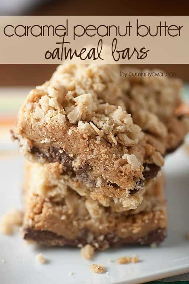 These caramel peanut butter oatmeal bars a perfect after school snack!