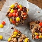 7 layer chocolate peanut butter bars recipe with Reese's candies