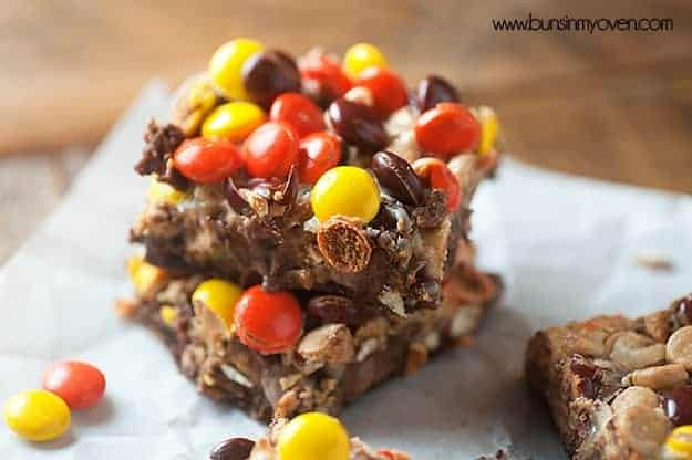 recipe for chocolate peanut butter seven layer bars! These are so easy and fudgy!