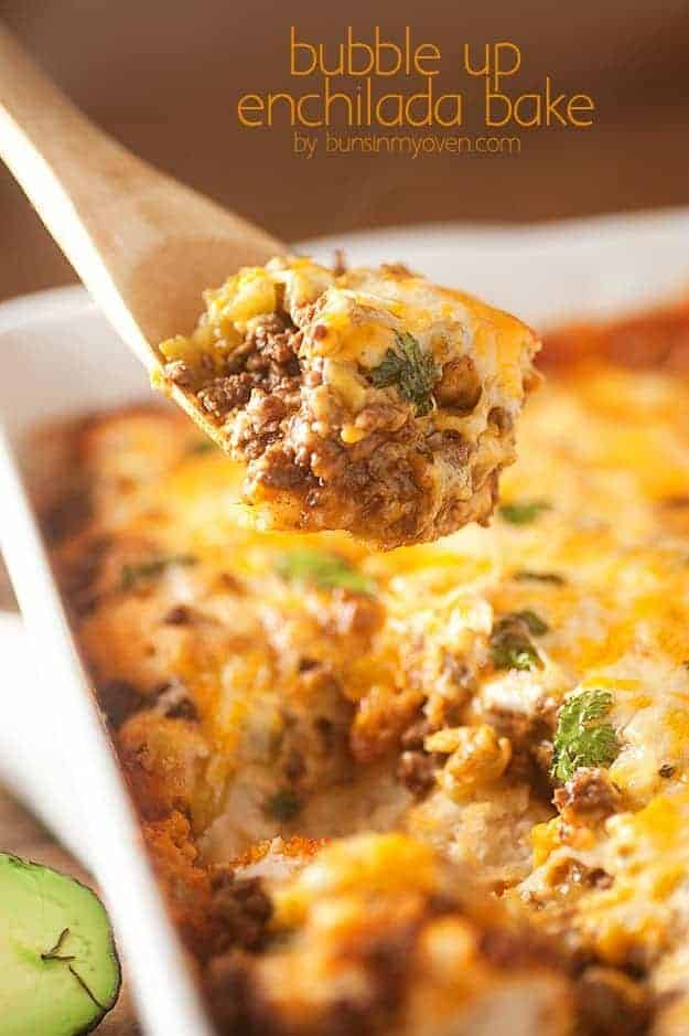 bubble up enchilada casserole with biscuits