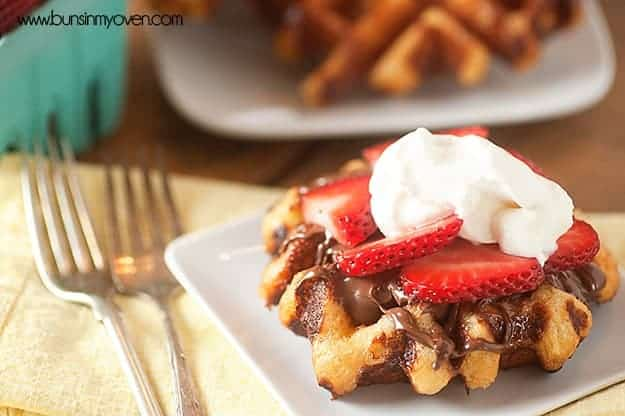 Liege Waffles with Nutella and Strawberries