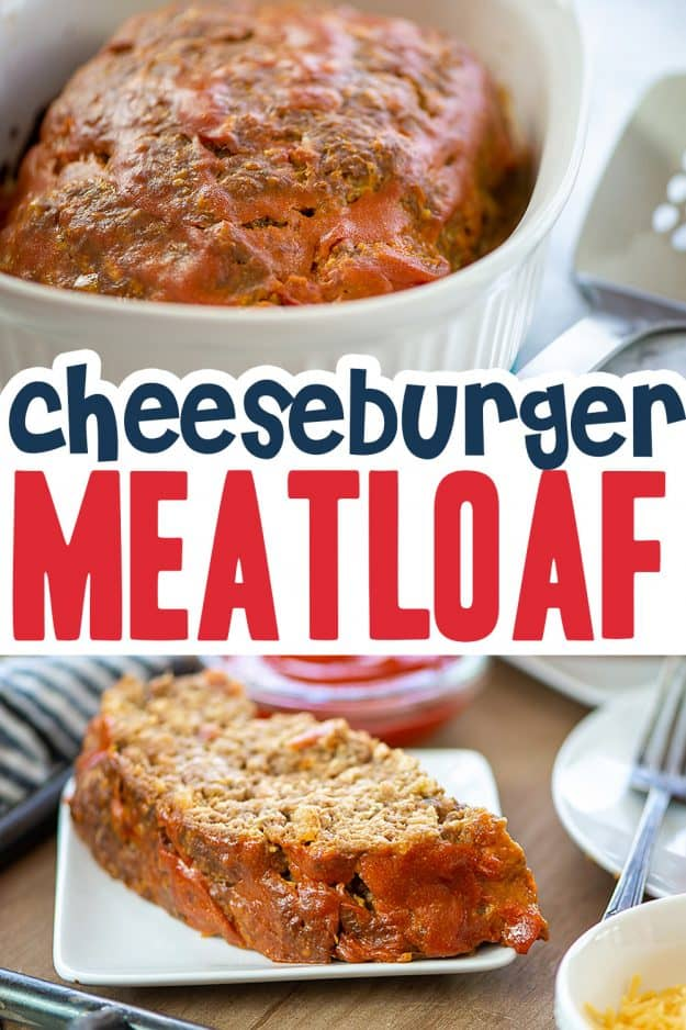 collage of cheeseburger meatloaf for pinterest.