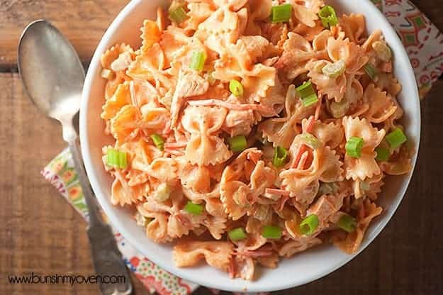 Spicy buffalo chicken pasta salad! Perfect for a summer barbecue!