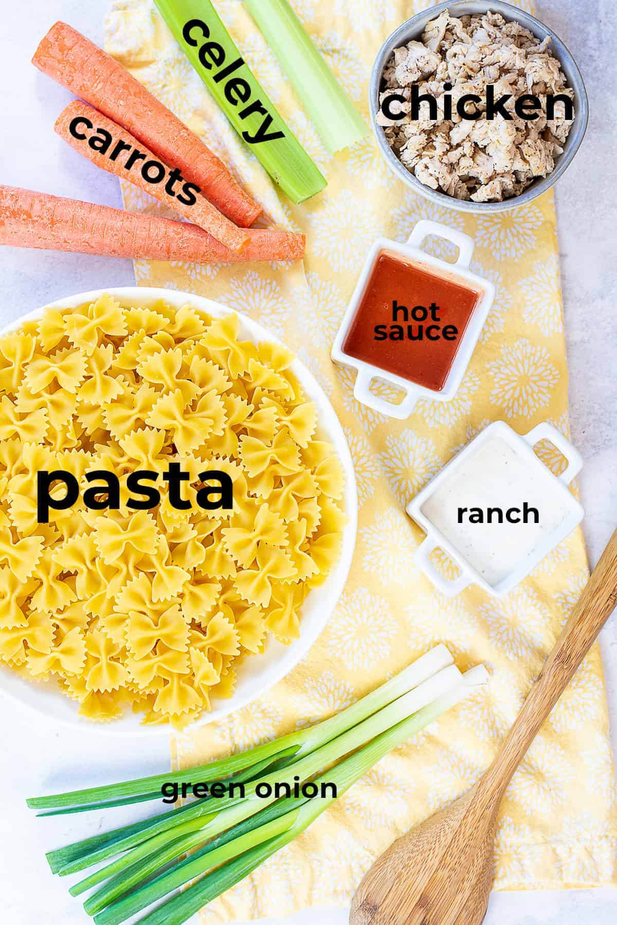 ingredients for buffalo chicken pasta salad.