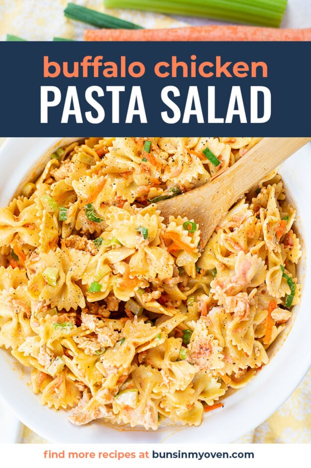 overhead view of pasta salad in white bowl with text for pinterest.
