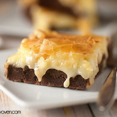 A close up of a gooey butter brownie.