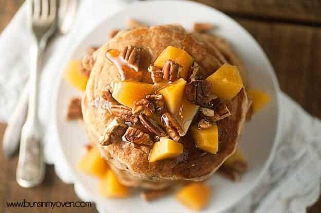 Peach Pecan Pancakes for #stackhappycookbook