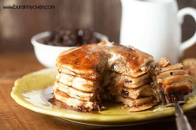 Cinnamon Raisin Bread Pancakes for #stackhappycookbook