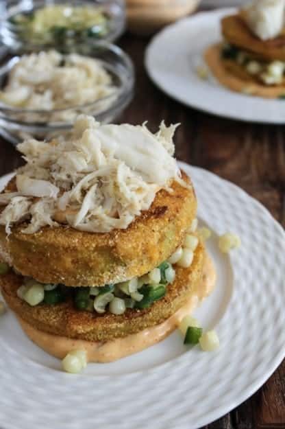 Fried-Green-Tomato-Stacks-with-Crab-and-Corn-Bites-of-Bri-682x1024