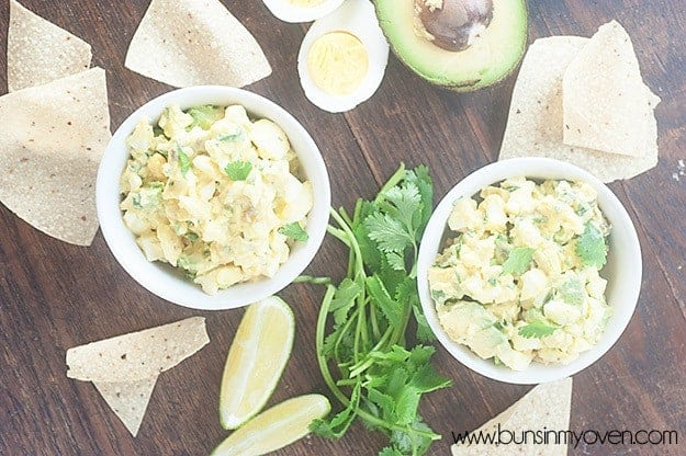 This egg salad recipe is full of Mexican flavors and works great as a dip for chips or wrapped in a tortilla! #recipe #footballfood #appetizer