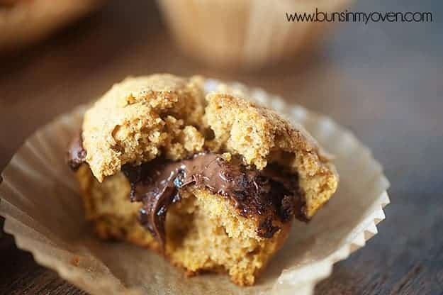 Moist pumpkin muffins stuffed with Nutella!