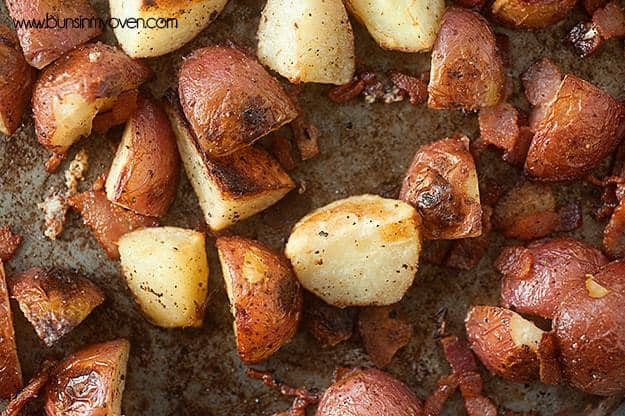 oven roasted potatoes with bacon, parmesan cheese, and garlic