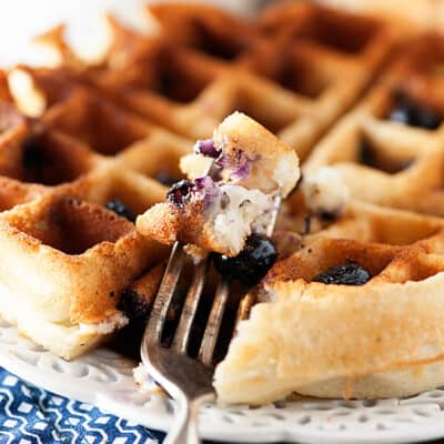 A close up of a fork holding up a bite of a blueberry waffle to the camera.