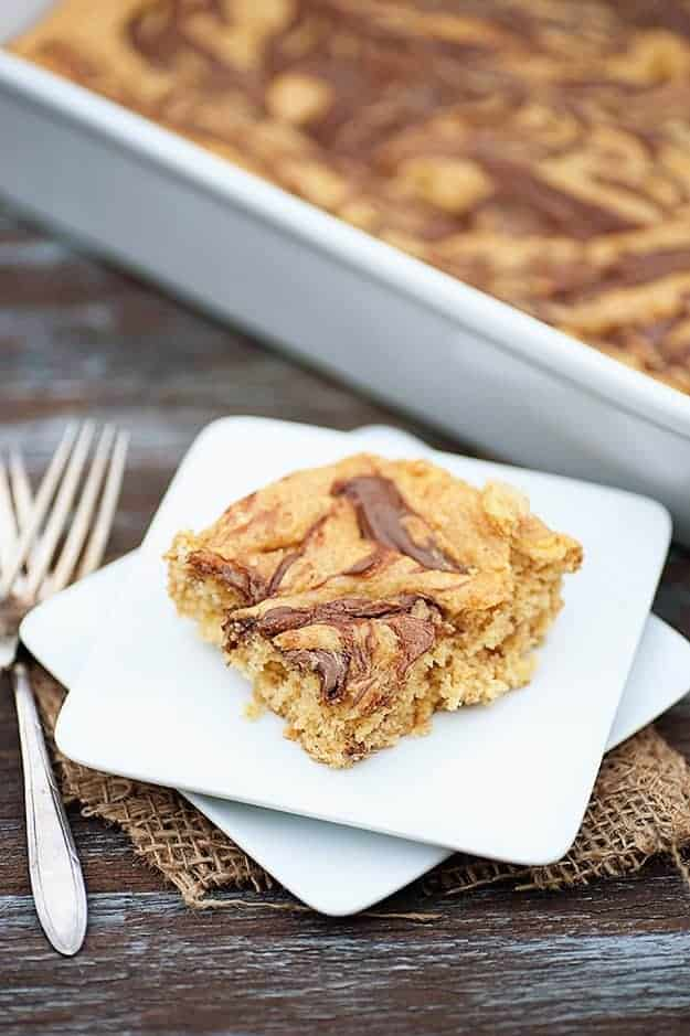 banana nutella cake bars recipe