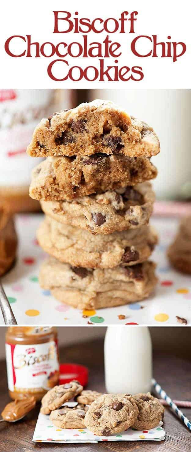 A close up of stacked up chocolate chip cookies where the top two cookies are cut in half on a polka dot napkin