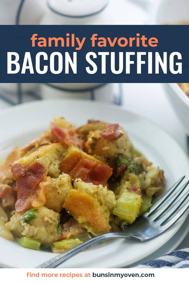 plate full of bacon stuffing.