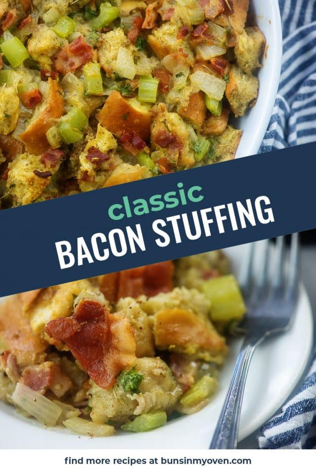 collage of bacon stuffing photos.
