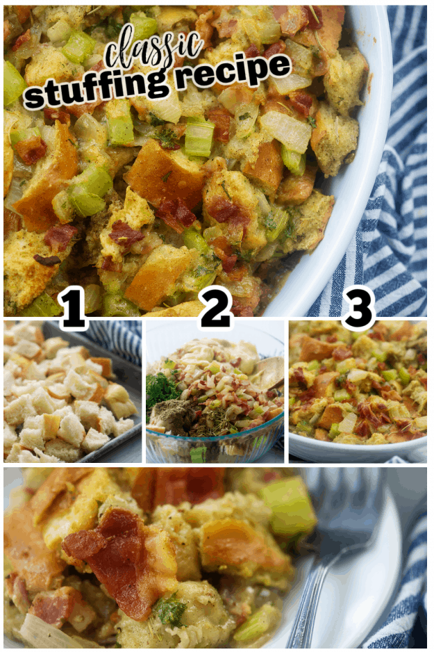 collage of how to make stuffing.