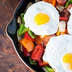Sausage Hash with Sunny Side Up Eggs for brinner!