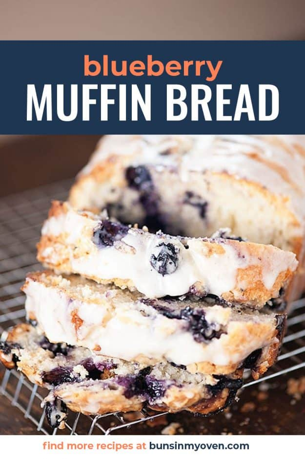 sliced blueberry muffin bread with glaze on top.