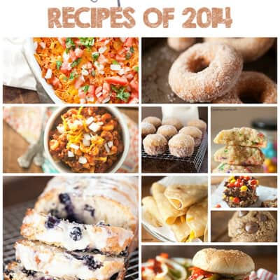 A photo collage of various recipes published in 2014.