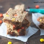 The chewiest, most decadent peanut butter blondies! Love this easy recipe!