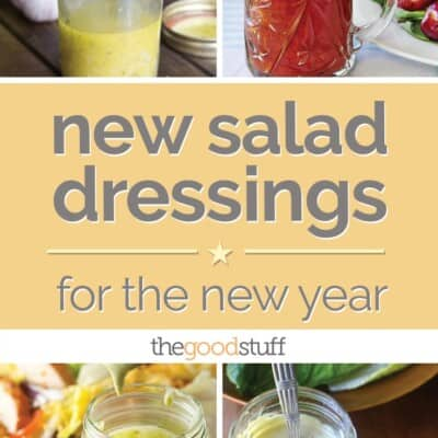 A photo collage of various salad dressings.