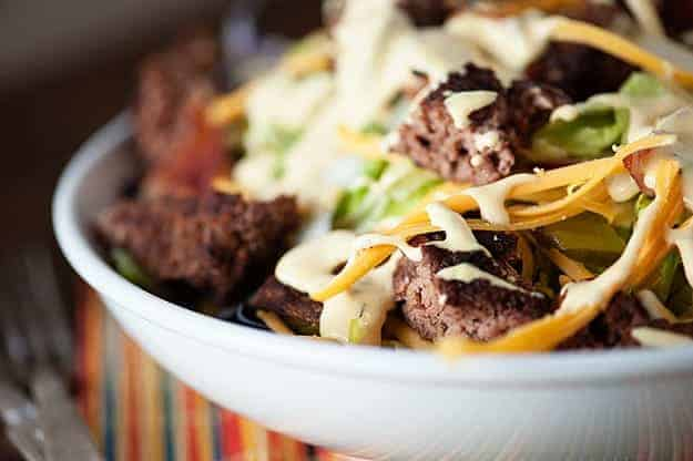 Low carb and keto friendly bacon cheeseburger salad recipe! The dressing is AMAZING!