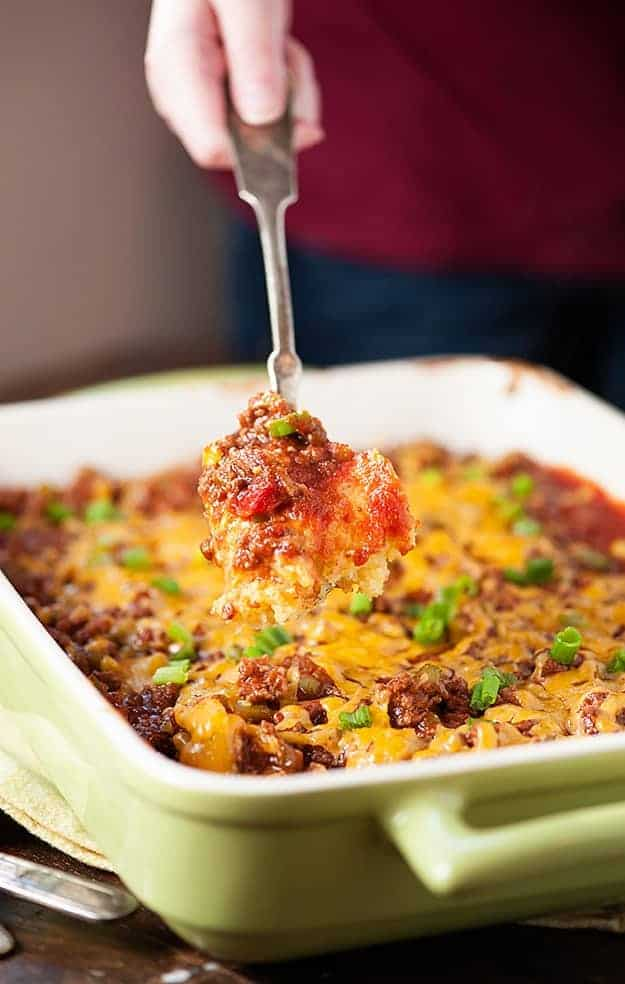 Sloppy Joe Cornbread Casserole Recipe - an easy weeknight recipe for the family!