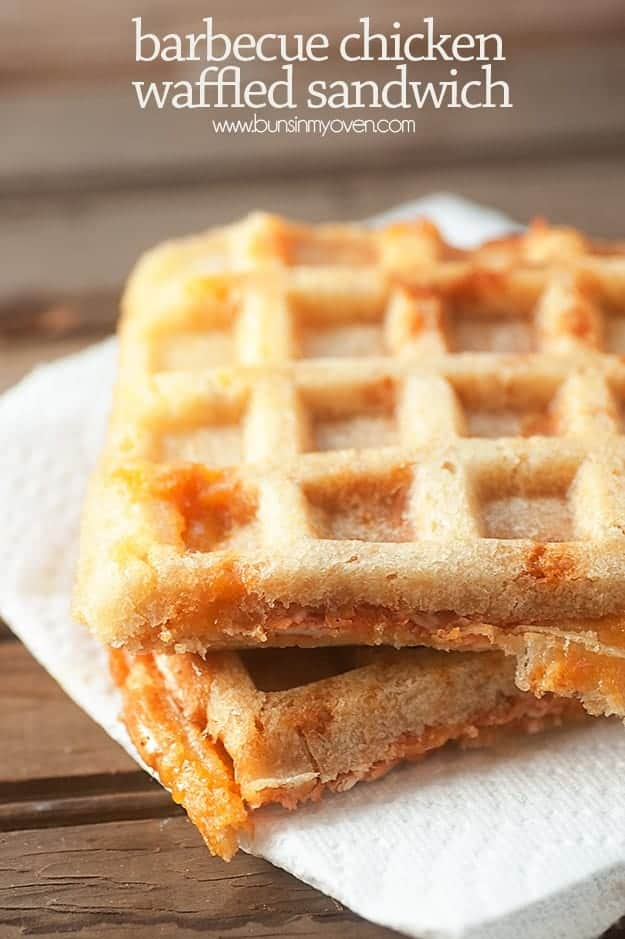 Barbecue Chicken Waffle Sandwiches