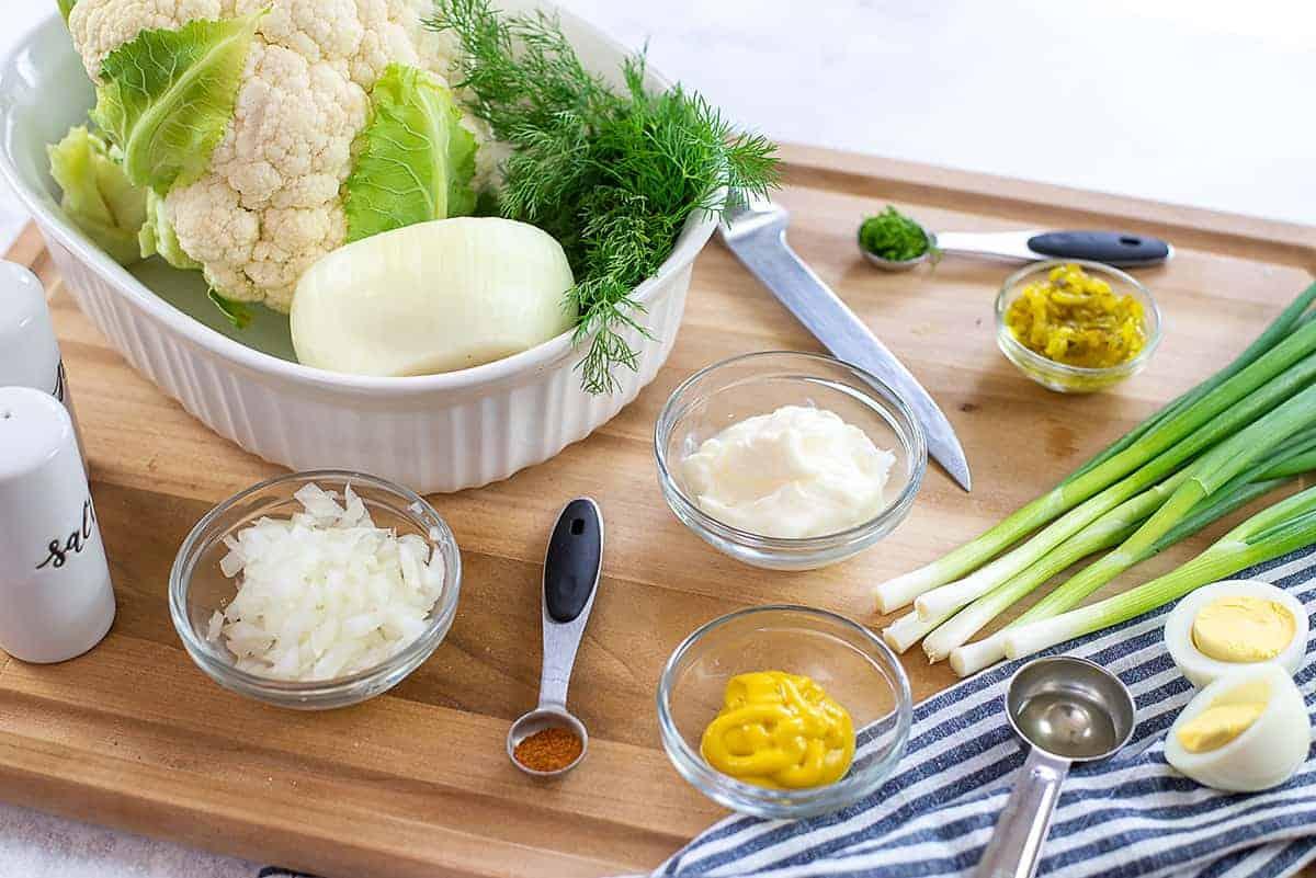 ingredients for cauliflower potato salad